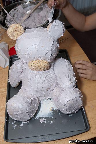Как сделать мишку на торте из крема
